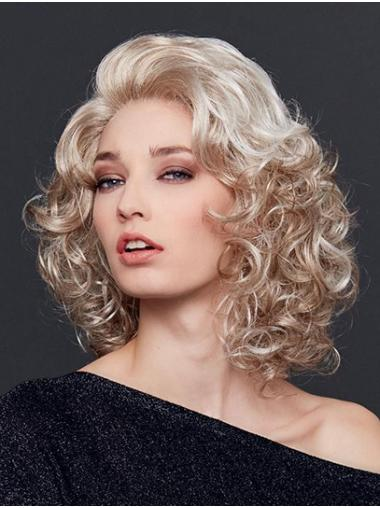 """12"""" Shoulder Length Curly  Blonde Synthetic Without Bangs Natural Lace Front Wigs"""