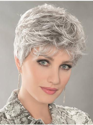 Wavy Monofilament Platinum Blonde Synthetic Boycuts New Style Short Wigs