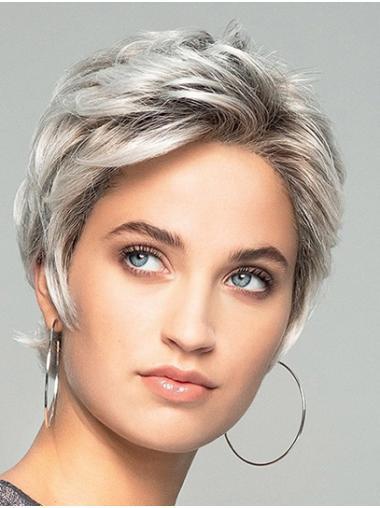 Short Wavy Monofilament Synthetic Boycuts Lace Wigs For Women