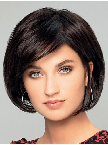 """8"""" Short Black Straight Synthetic Bobs New Hand Tied Wigs"""