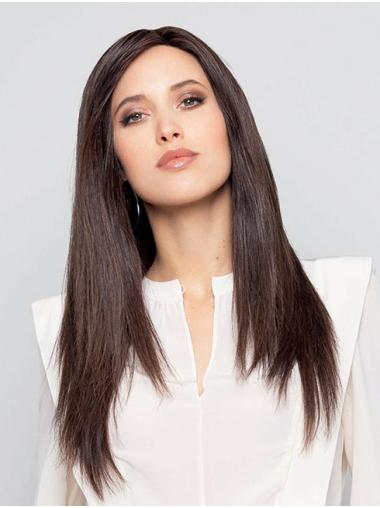 Brown Long 100% Hand-Tied Straight Without Bangs Comfortable Human Hair Wigs