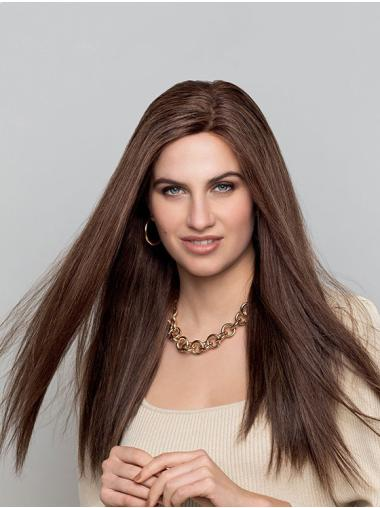 Brown Long Monofilament Straight Without Bangs Natural Looking Human Hair Wigs