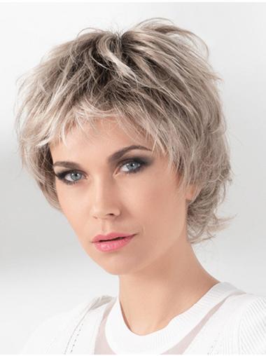 "Blonde 8"" Monofilament Boycuts Synthetic Straight Short Wigs Women"