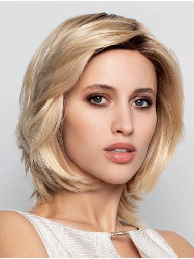 Blonde Chin Length 100% Hand-Tied Straight Layered Human Hair Wigs For Women