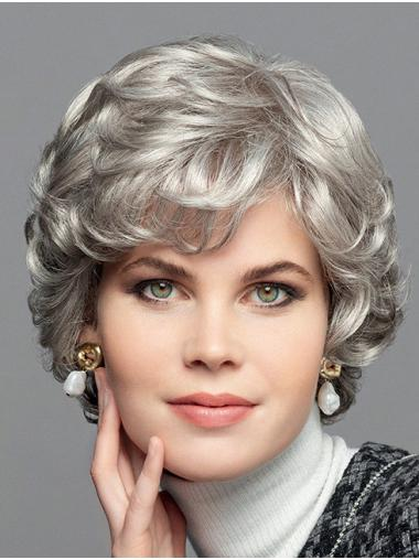 """100% Hand-Tied Chin Length Bobs Synthetic 10"""" Curly Grey Wig"""
