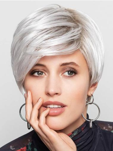 """Monofilament Short Layered Synthetic 8"""" Straight Grey Wigs For Women"""