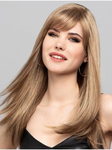 """Blonde Straight 16"""" Monofilament With Bangs Synthetic Natural Long Wigs"""