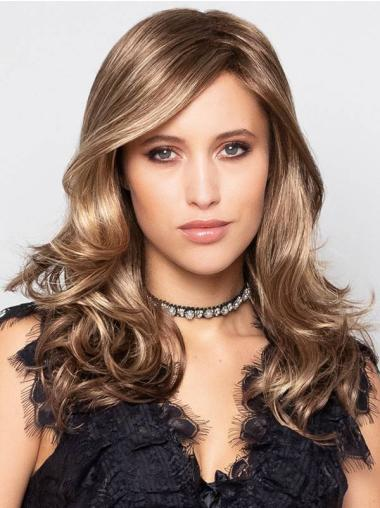 """Blonde With Highlights Curly 16"""" Monofilament With Bangs Synthetic Long Wigs Online"""