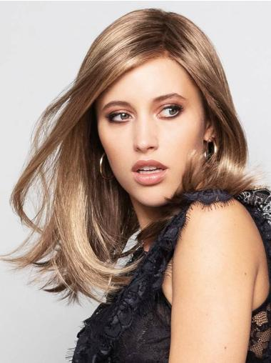 """Synthetic Blonde With Highlights Without Bangs Straight 14"""" Monofilament Great Medium Wigs"""