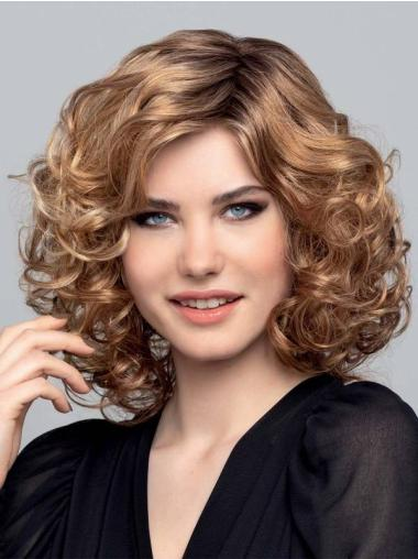 """Synthetic Blonde Bobs Curly 14"""" Monofilament Popular Medium Wigs"""