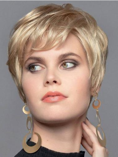 "Blonde 6"" Monofilament Boycuts Synthetic Wavy Very Short Wigs For Women"