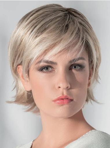 """100% Hand-Tied 10"""" Bobs Straight Short Blonde Synthetic Wigs"""