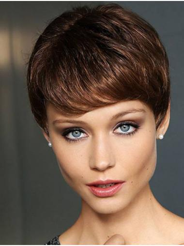 """Brown 4"""" Monofilament Boycuts Synthetic Straight Ladies Short Wigs"""
