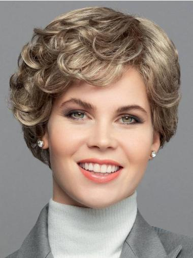 """Short 8"""" Blonde Curly Synthetic Bobs Hand Tied Wigs"""
