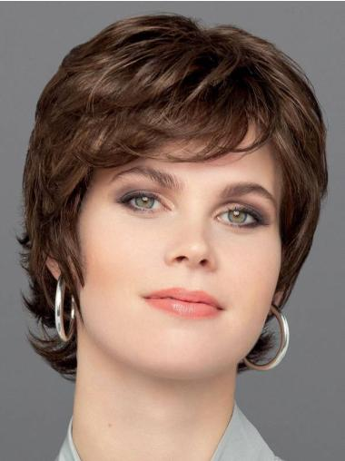 """Brown 6"""" Monofilament Layered Synthetic Wavy Exquisite Short Wigs"""
