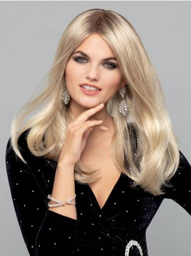 """Platinum Blonde Straight 16"""" Monofilament Without Bangs Synthetic Quality Long Wigs"""
