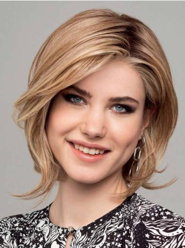 """Chin Length 12"""" Blonde Straight Synthetic Bobs 100 Hand Tied Wigs"""