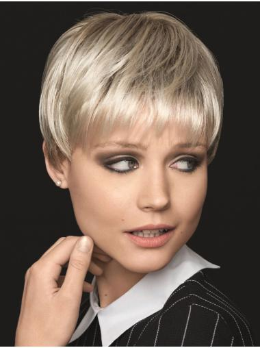 """Short 6"""" Platinum Blonde Straight Synthetic With Bangs Soft Cap Hand Tied Wigs"""