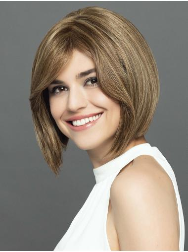 """Chin Length 12"""" Ombre/2 Tone With Highlights Straight Synthetic Bobs Lightweight Hand Tied Wigs"""