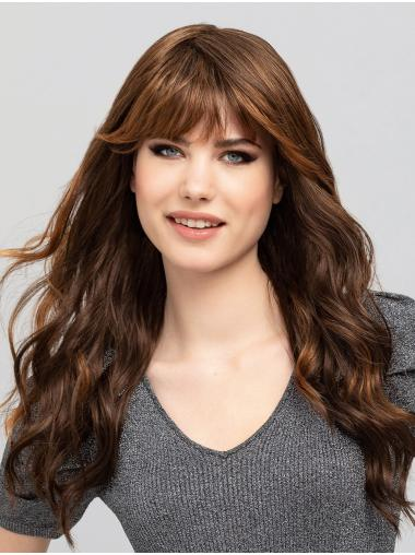 """Brown Wavy 16"""" Capless With Bangs Synthetic Modern Long Wigs"""