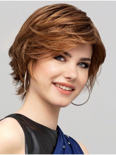 """Layered Short Blonde 8"""" Synthetic Straight Sleek Lace Front Wigs"""