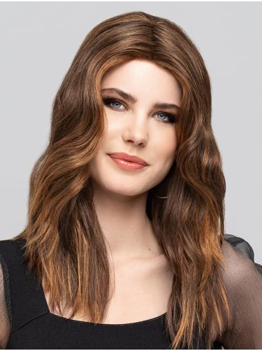 """Brown With Highlights Wavy 16"""" Monofilament Without Bangs Synthetic Long Wigs For Women"""