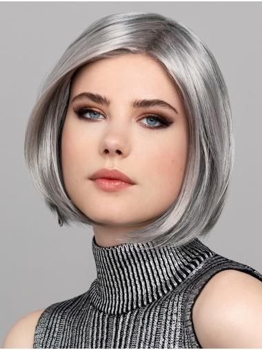 """Bobs Chin Length Grey 12"""" Synthetic Straight Stylish Lace Front Wig"""