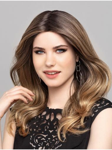 """Monofilament 16"""" Without Bangs Wavy Long Ombre/2 Tone Good Quality Synthetic Wigs"""