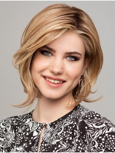 """Straight Chin Length Blonde 12"""" 100% Hand-Tied Synthetic Bob Wig"""