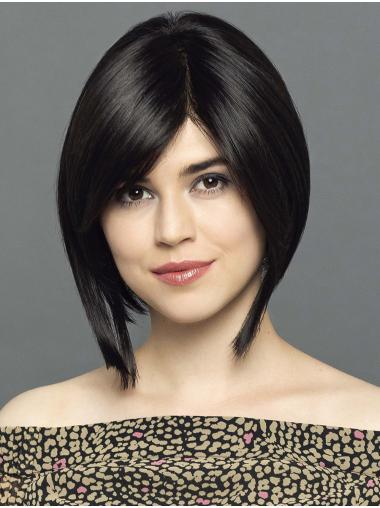 """Straight Chin Length Black 12"""" 100% Hand-Tied Synthetic Ladies Bob Wigs"""