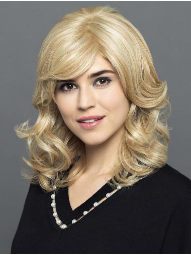 """Synthetic 100% Hand-Tied Shoulder Length Blonde With Bangs 14"""" Comfortable Lace Wigs"""