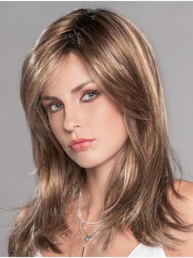 """Monofilament 16"""" With Bangs Straight Long Blonde With Highlights Top Quality Synthetic Wigs"""