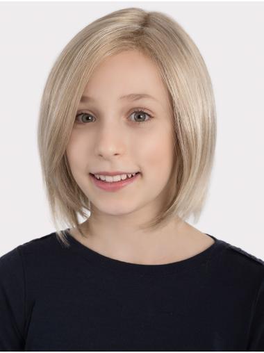 Chin Length Bobs Blonde Monofilament Straight Stylish Kids Wigs
