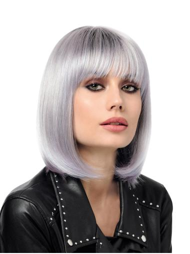 """Straight Synthetic Grey 12"""" Bobs Sassy Monofilament Wigs"""