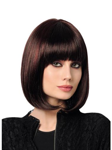 """Straight Synthetic Black With Highlights 12"""" Bobs Affordable Monofilament Wigs"""