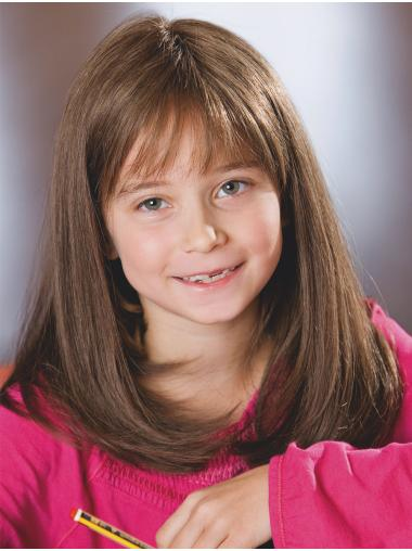 Shoulder Length With Bangs Brown Monofilament Straight Kids Wig