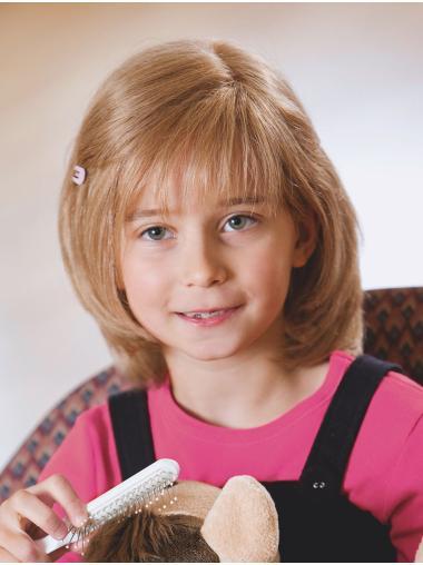 Chin Length Bobs Blonde Monofilament Straight Kids Wigs Children