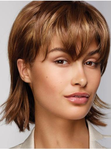 """Monofilament 12"""" With Bangs Straight Chin Length Brown Realistic Looking Synthetic Wigs"""