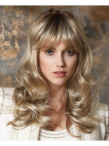 """16"""" Monofilament Synthetic Blonde Curly Long Wigs"""
