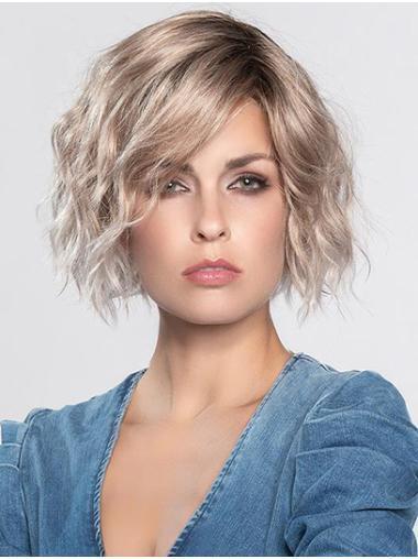 """Platinum Blonde Without Bangs Chin Length 12"""" Monofilament Durable Synthetic Wigs"""