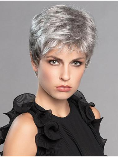 """6"""" Platinum Blonde Synthetic Layered Straight Natural Short Wigs"""