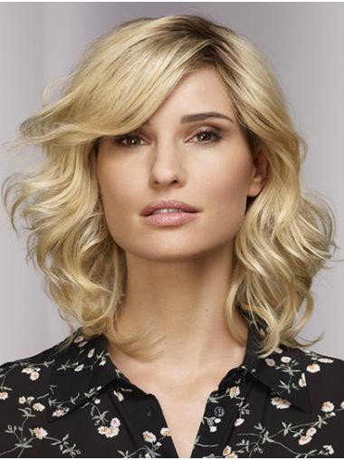 """Blonde Bobs Shoulder Length 16"""" Monofilament Womens Synthetic Wigs"""