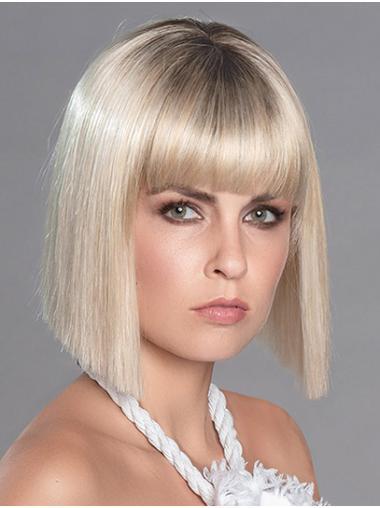 "12"" Straight Platinum Blonde Chin Length Monofilament Bobcut Wig"