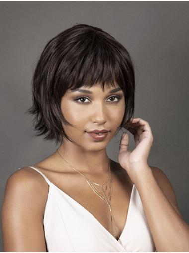Chin Length Black Bobs Straight Synthetic African American Wigs