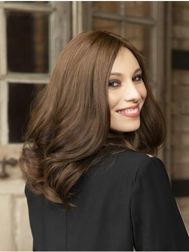 """Shoulder Length Wavy Synthetic Brown 14"""" Sleek Lace Front Wigs"""