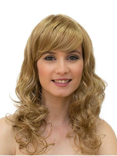 """16"""" Monofilament Synthetic Blonde Curly Ladies Long Wigs"""