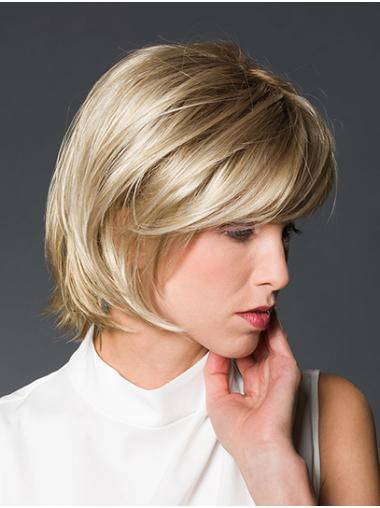 "10"" Straight Platinum Blonde Chin Length Monofilament Bob Style Wig"