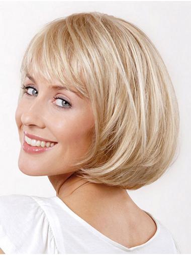 "10"" Straight Platinum Blonde Chin Length Monofilament Wigs Bob"