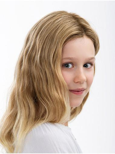 Shoulder Length 100% Hand-tied Wavy Without Bangs Blonde Kids Wigs