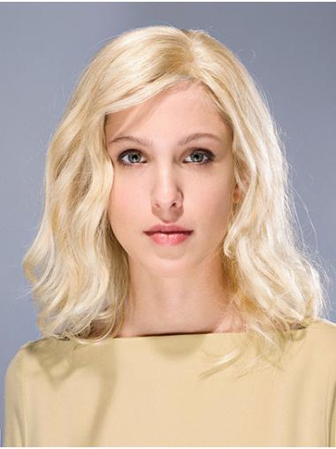 """Shoulder Length Wavy Synthetic Blonde 14"""" Glue Less Lace Wigs"""